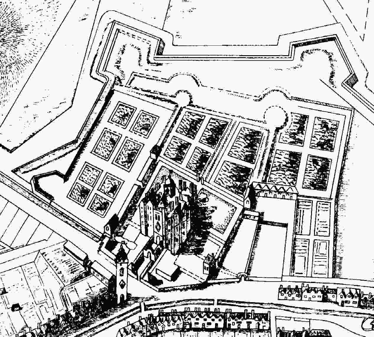 Belfast Castle from Thomas Phillips' map, 1685