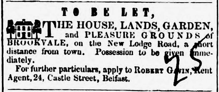 Brookvale to be let, 1849