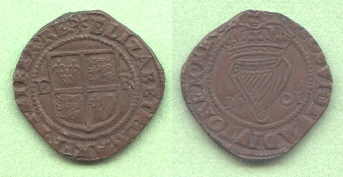 Irish copper penny 1601