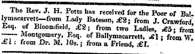For the Poor of Ballymacarrett, 1828